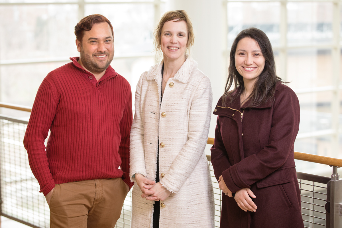 Speech and hearing science professor Laura DeThorne, center, and doctoral students Henry Angulo and Veronica Vidal discuss how the neurodiversity movement recognizes autistic individuals' unique experiences, skills and strengths, and rejects the medicalization of autism.