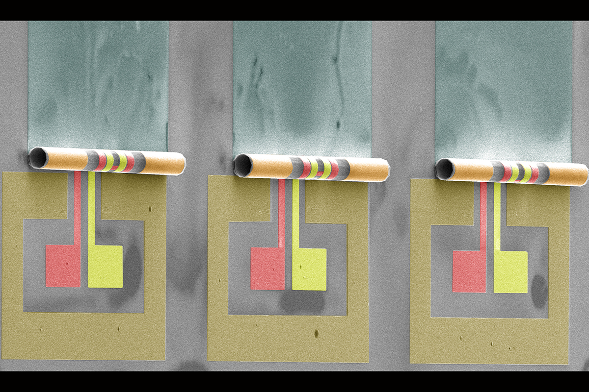 A photomicrograph of three 50-micron diameter rolled transformers developed by Illinois professor Xiuling Li's team.