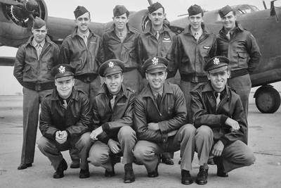 This B-24 crew, plus an additional crewman, was lost on a bombing mission during World War II. A relative of Illinois professor Scott Althaus was among them, and he led a research project to learn the details of that final mission.