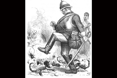 Black and white drawing of a British soldier stamping on scorpions that are half insect and half Afghan tribal soldiers.