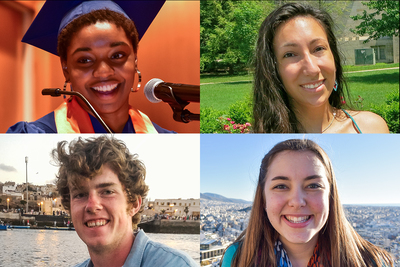 Critical Language Scholarship recipients include, clockwise from top left, Aja Beckham, Lauren Kirby, Melanie Rohla and Matthew Schultz.