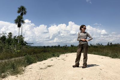 Graduate student Jeannie Larmon surveys the landscape before the trek.