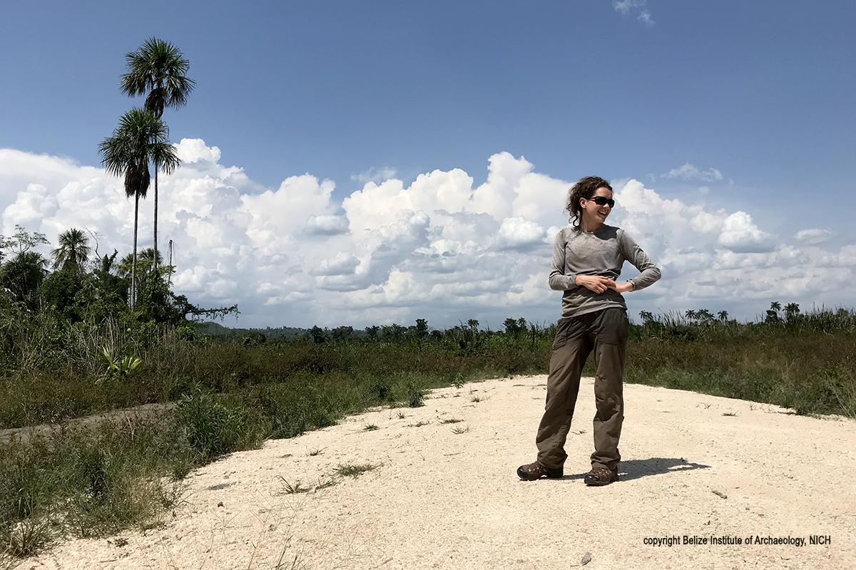 Graduate student Jeannie Larmon surveys the landscape before the trek.