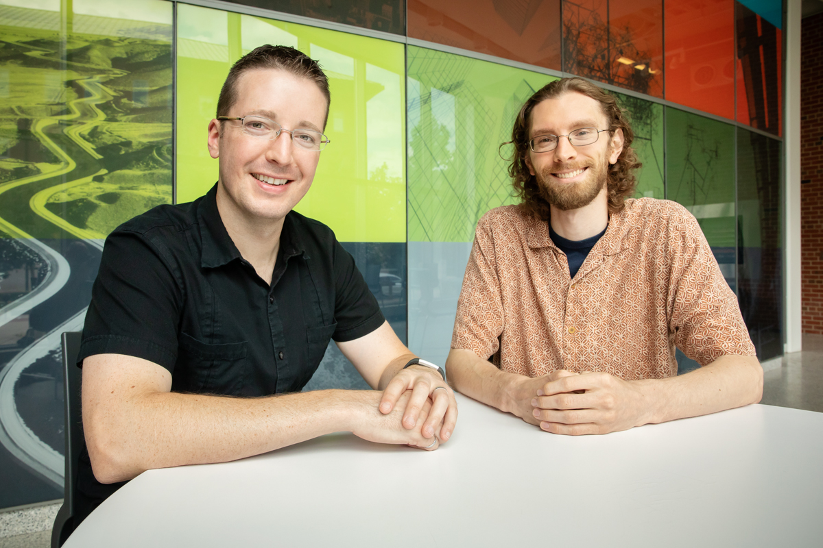 Civil and environmental engineering professor Jeremy Guest, left, and graduate student John Trimmer evaluated the feasibility of using human-derived waste as a safe and valuable nutrient commodity.
