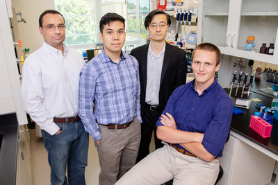 Illinois researchers adapted CRISPR gene-editing technology to help a cell skip over mutated portions of genes. From left, professor Pablo Perez-Pinera, graduate student Alan Luu, professor Jun Song and graduate student Michael Gapinske.