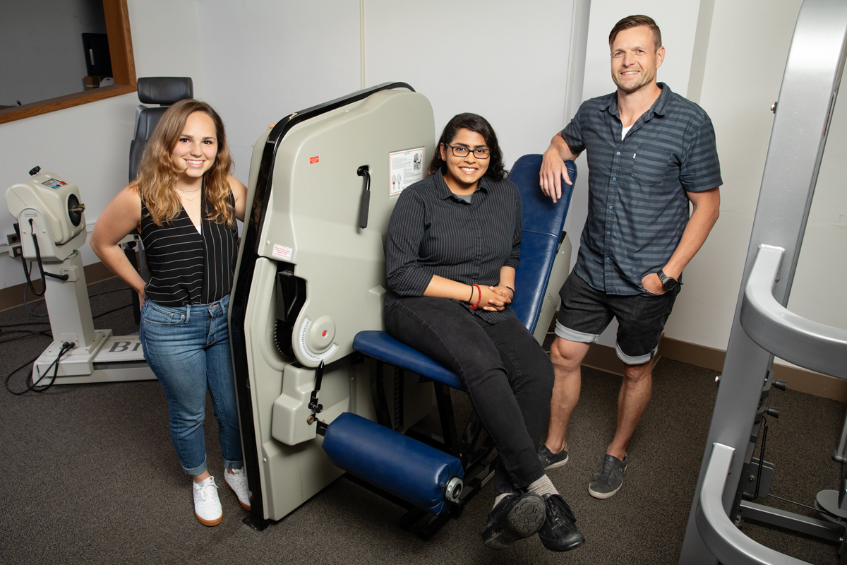 From left, doctoral student Colleen McKenna, undergraduate student Elizabeth Poozhikunnel and kinesiology and community health professor Nicholas Burd found that post-workout muscle building and repair is blunted in adults with obesity.