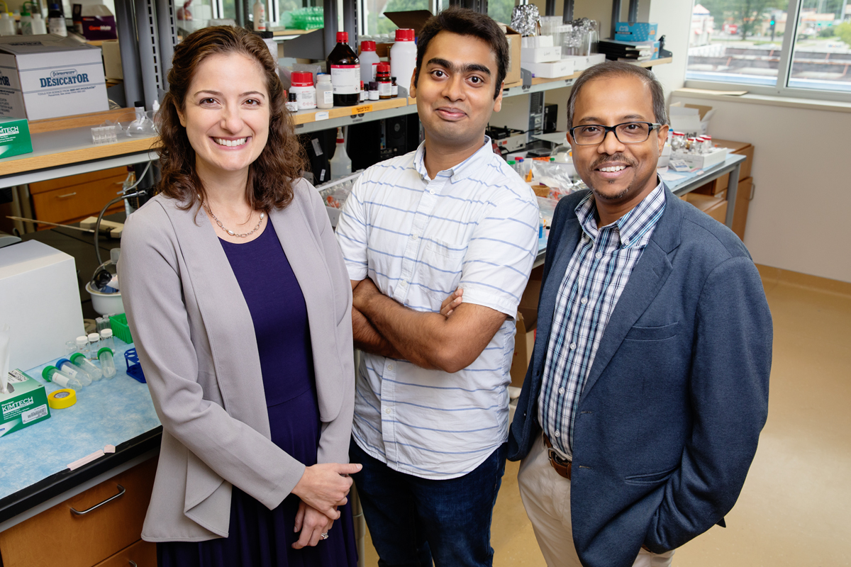 Researchers developed a rapid sensing gel to measure a molecular marker of eye injury in a teardrop. From left: Carle opthamologist Dr. Laura Labriola, Illinois visiting scholar Ketan Dighe and professor Dipanjan Pan.