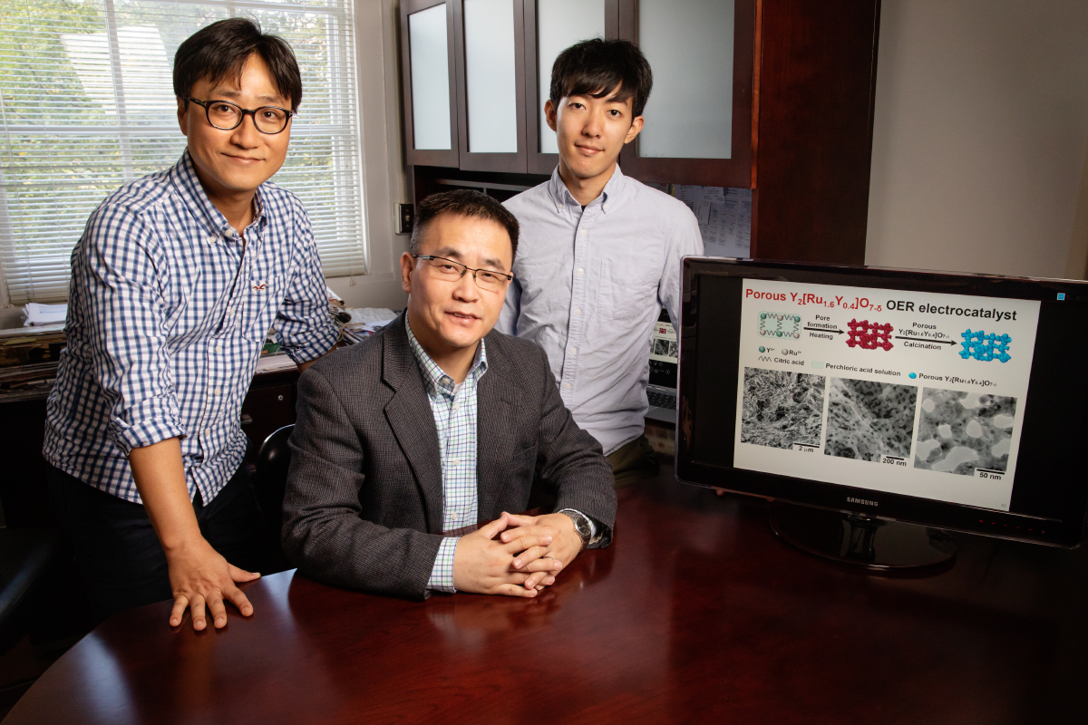 Postdoctoral researcher Jaemin Kim, professor of chemical and biomolecular engineering Yang Hong and graduate student Pei-Chieh (Jack) Shih are part of a team that developed a new material that helps split water molecules for hydrogen fuel production.