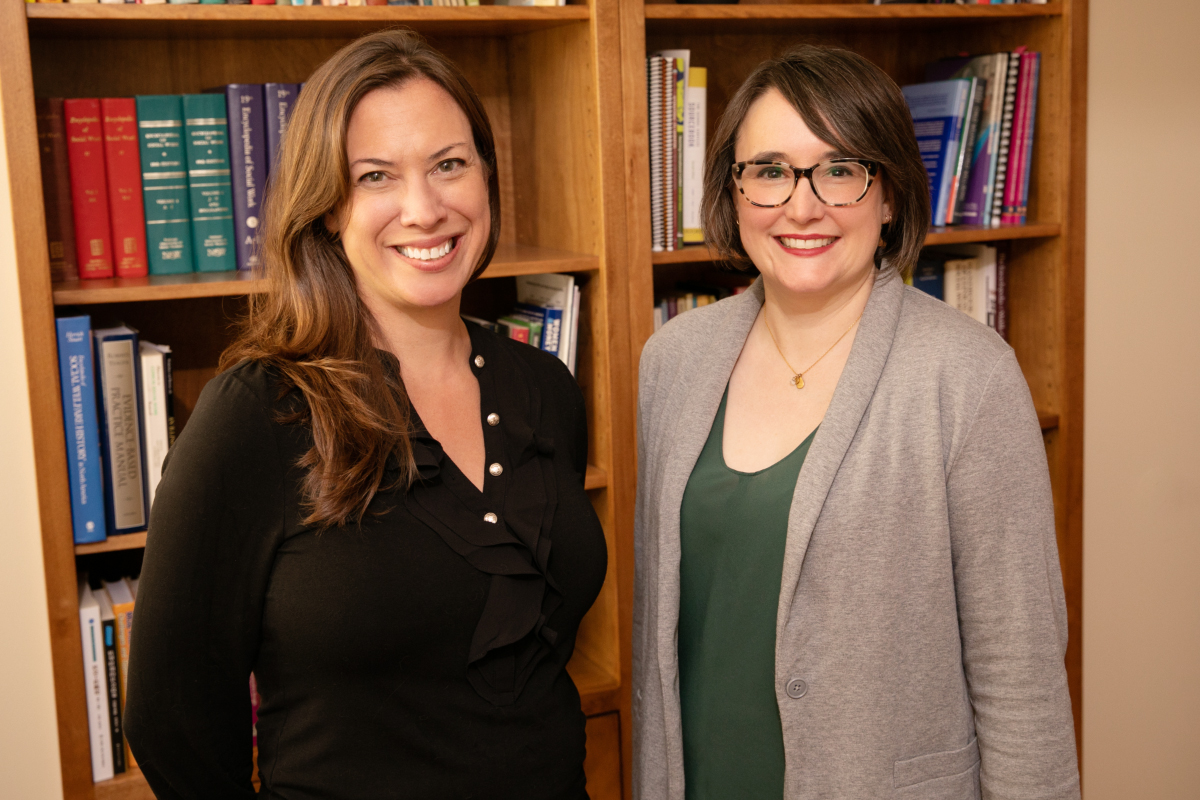 Social work professors Tara M. Powell, left, and Kate M. Wegmann found in a recent study that demographic and cultural characteristics are strong influences on adolescents' coping styles and behaviors after natural disasters.
