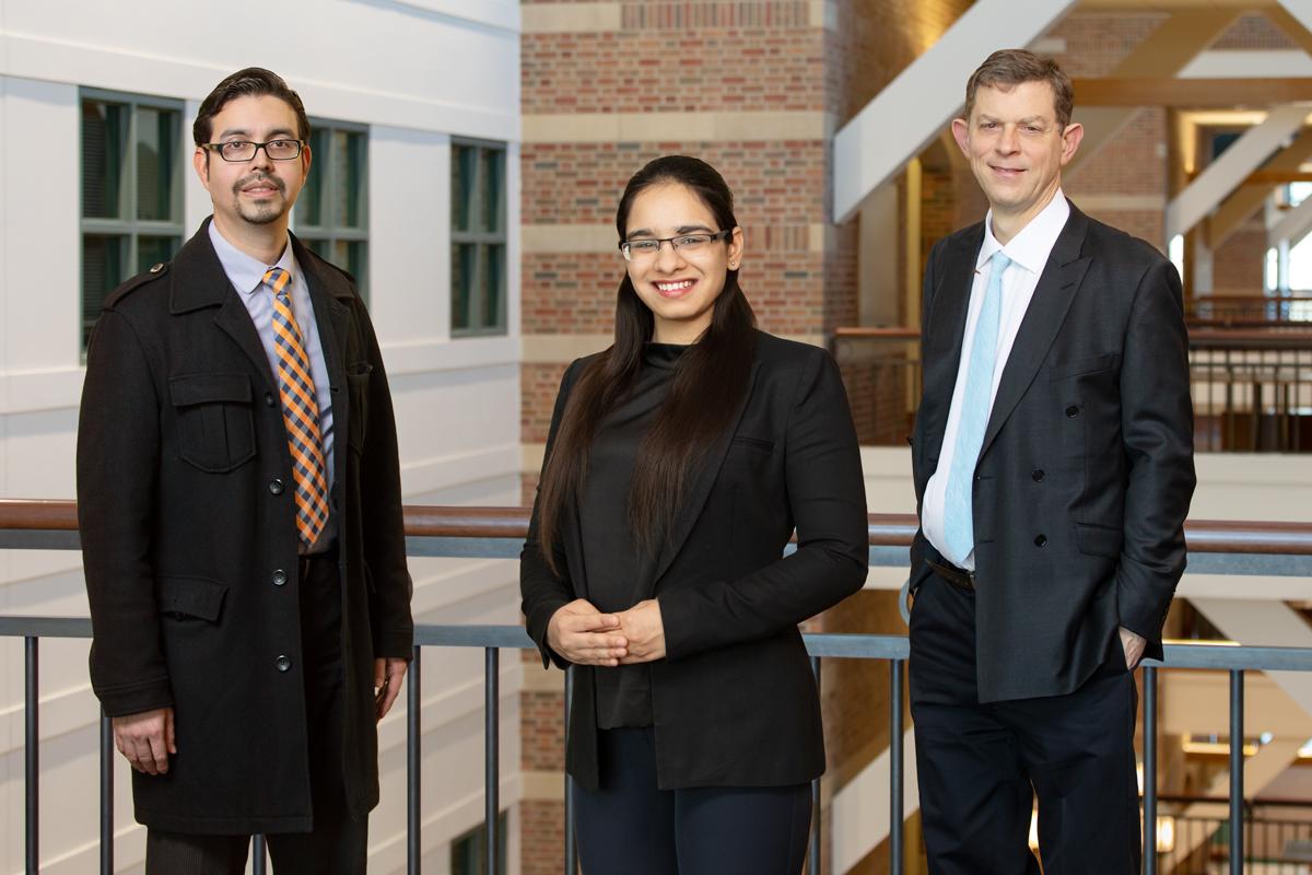 Group portrait of researchers Manuel Hernandez, Rachneet Kaur and Richard Sowers.