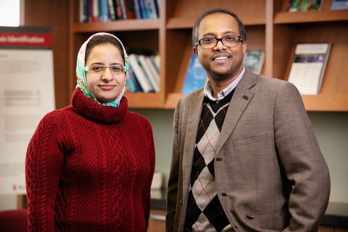 Illinois researchers developed a new drug candidate that targets a receptor inside sarcoma cancer cells. Pictured are graduate student Fatimeh Ostadhossein and bioengineering professor Dipanjan Pan.