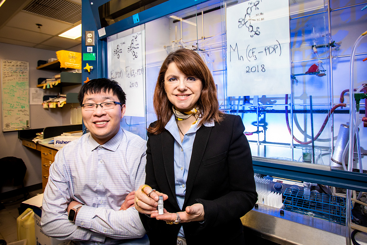Chemistry professor M. Christina White, right, and graduate student Jinpeng Zhao developed a new catalyst that has the potential to advance the pace and efficiency of drug development.