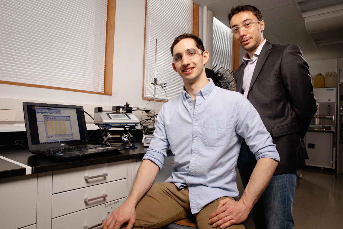 Chemical and biomolecular engineering professor Damien Guironnet, right, and graduate student Dylan Walsh developed a new technique that allows them to program the size, shape and composition of soft materials.
