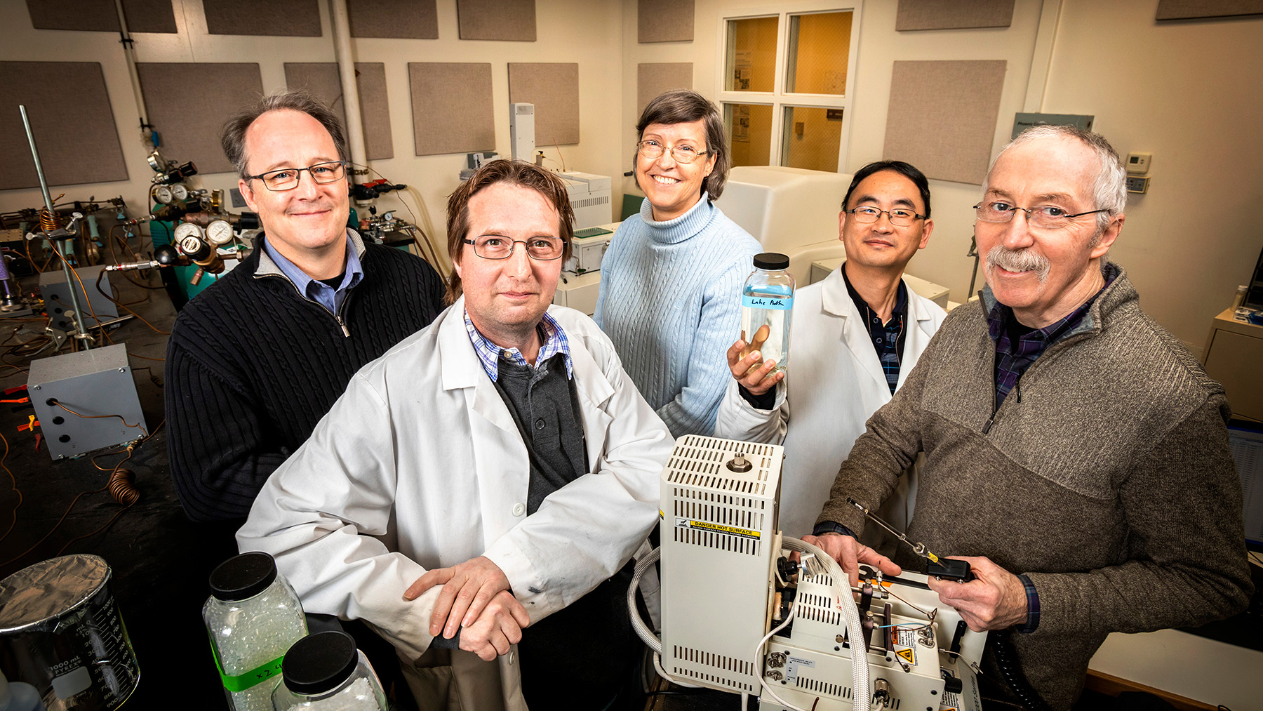 The University of Illinois-led study included researchers from the Prairie Research Institute. Pictured, from left: Walton R. Kelly, John Scott, Nancy Holm, Wei Zheng and lead author Samuel V. Panno.  Photo by Fred Zwicky