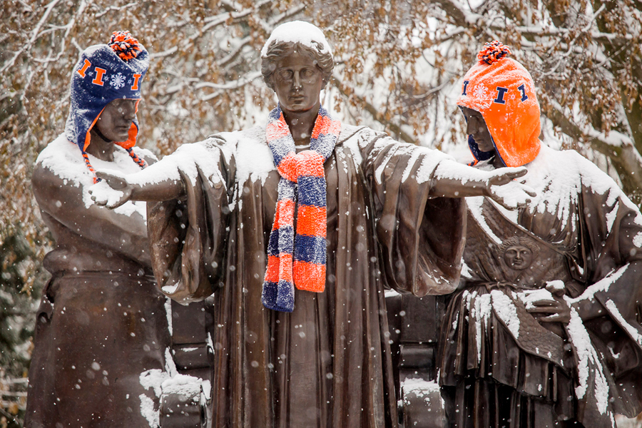 Alma mater wearing snow gear.