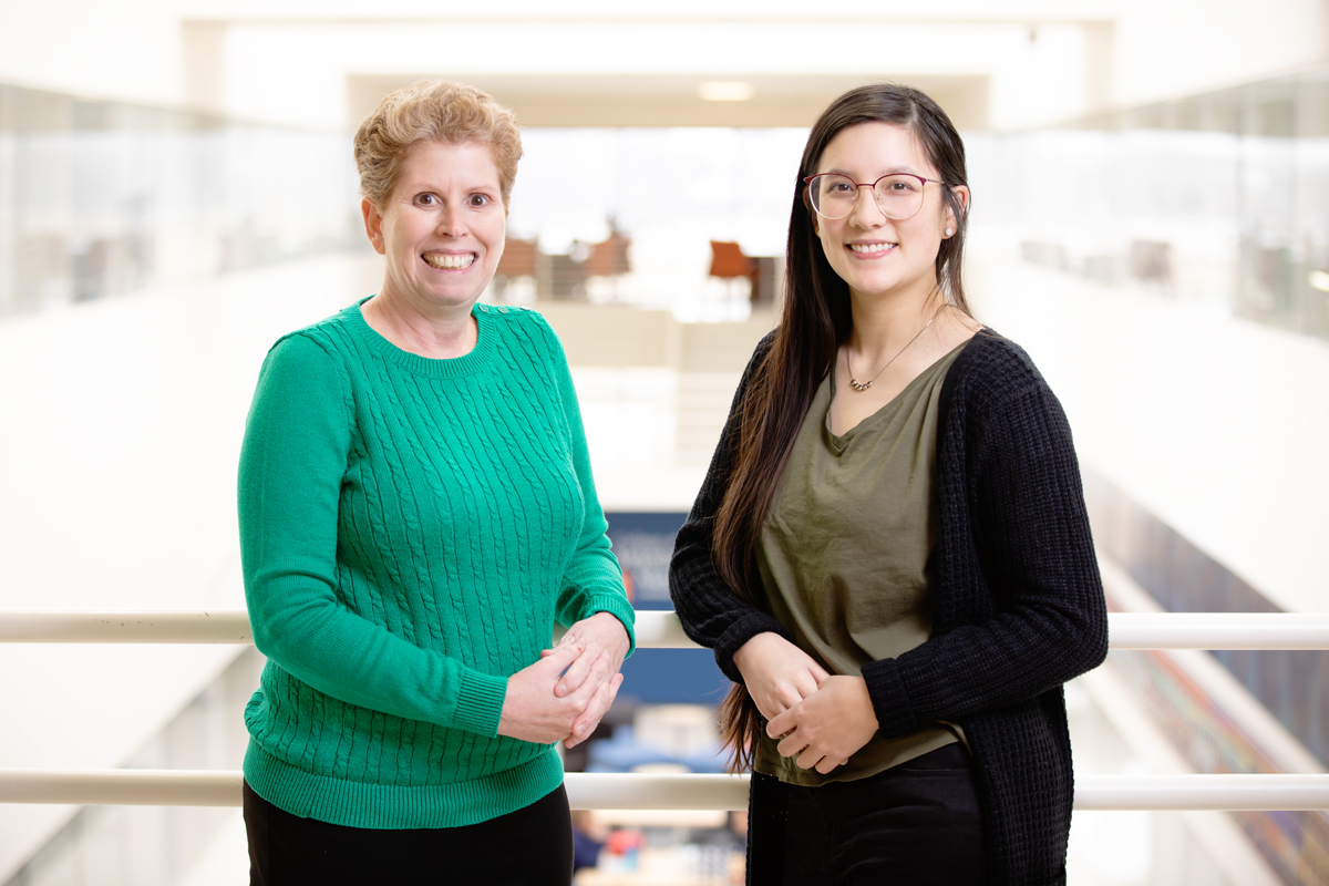 Ten days' exposure to the phthalate DiNP interfered with the fertility of female mice, decreasing pregnancy rates for up to nine months afterward, researchers at the University of Illinois found. Comparative biosciences professor Jodi A. Flaws, left, and graduate student Katie (Catheryne) Chiang co-wrote the study.
