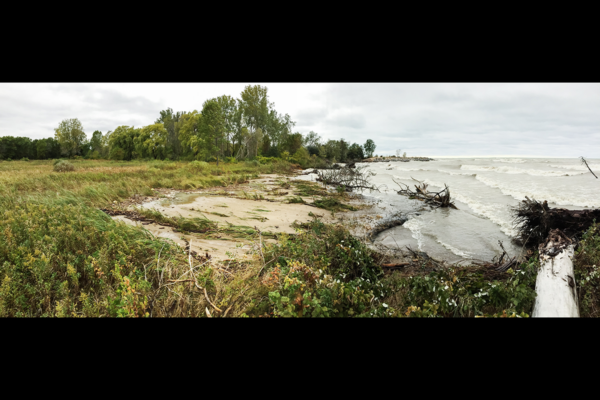 An October 2017 storm exposed wetlands to wave action and burial by beach sand at the shoreline of Lake Michigan at Illinois Beach State Park.