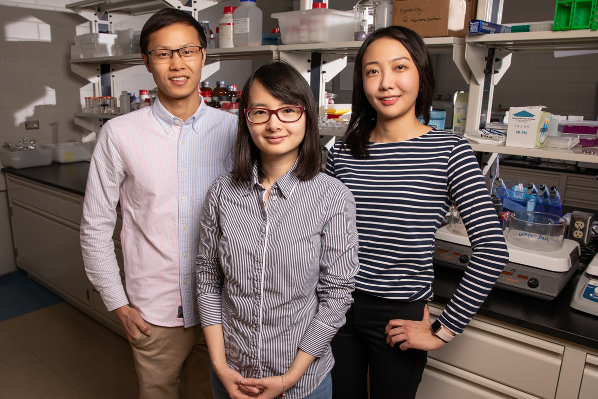 Materials science and engineering professor Qian Chen, center, and graduate students Binbin Luo, left, and Ahyoung Kim find inspiration in biology to help investigate how order emerges from self-assembling building blocks of varying size and shape.