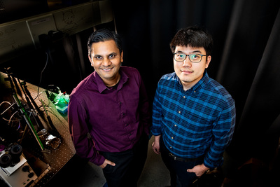 Chemistry professor Prashant Jain, left, and postdoctoral researcher Sungju Yu have developed an artificial photosynthesis process that converts excess CO2 into valuable fuels, bringing green technology one step closer to large-scale solar energy storage.
