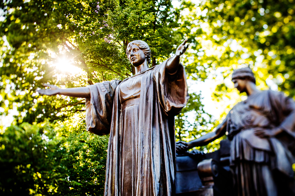 The iconic Alma Mater sculpture greets campus visitors.