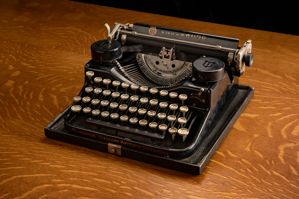 Photo of a typewriter used by Hugh Hefner in college.