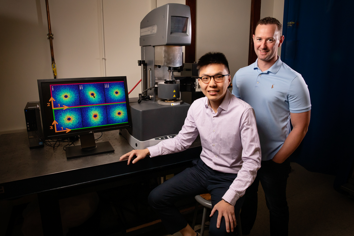 Chemical and biomolecular engineering researchers Johnny Ching-Wei Lee, left, professor Simon Rogers and collaborators are challenging previous assumptions regarding polymer behavior with their newly developed laboratory techniques that measure polymer flow at the molecular level.