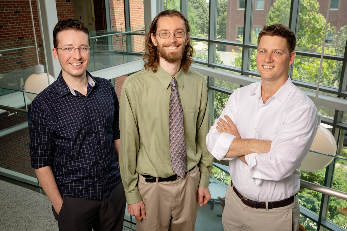 University of Illinois researchers Jeremy Guest, left, John Trimmer and Daniel Miller have developed a conceptual roadmap to help guide others through the unexplored environmental and economic aspects of sanitation.