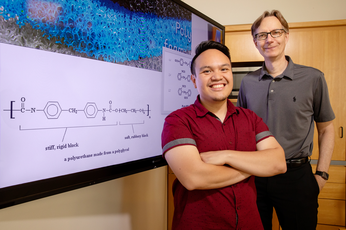 U. of I. chemistry professor Steven Zimmerman, graduate student Ephraim Morado and their colleagues are inventing new ways to degrade polyurethane and reuse the waste.