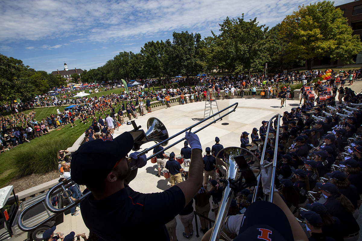 The U. of I. band performs at Quad Day 2019.
