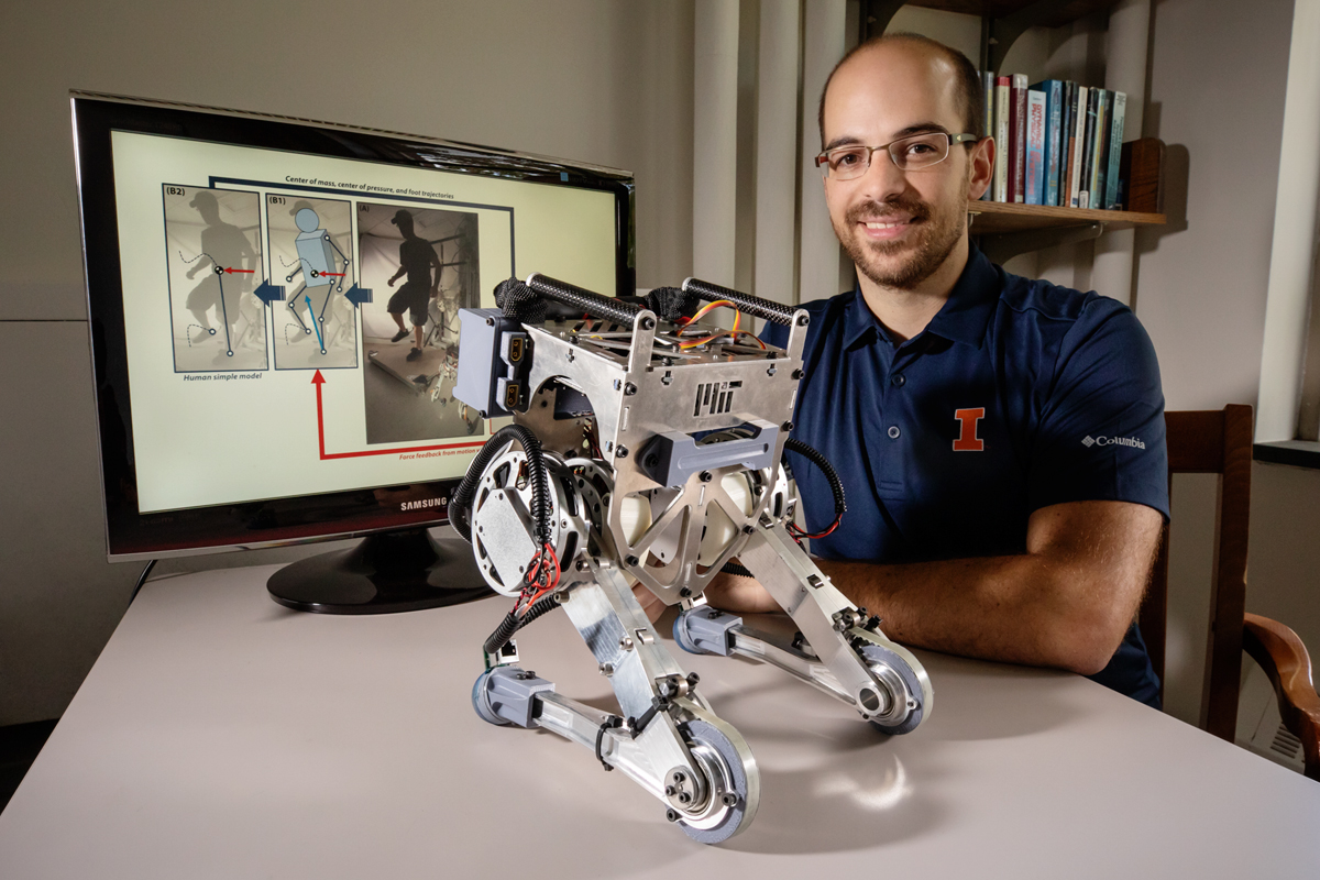 Mechanical science and engineering professor João Ramos developed a human-operated robot, named Little Hermes, which relies on human reflexes to remain upright during locomotion.