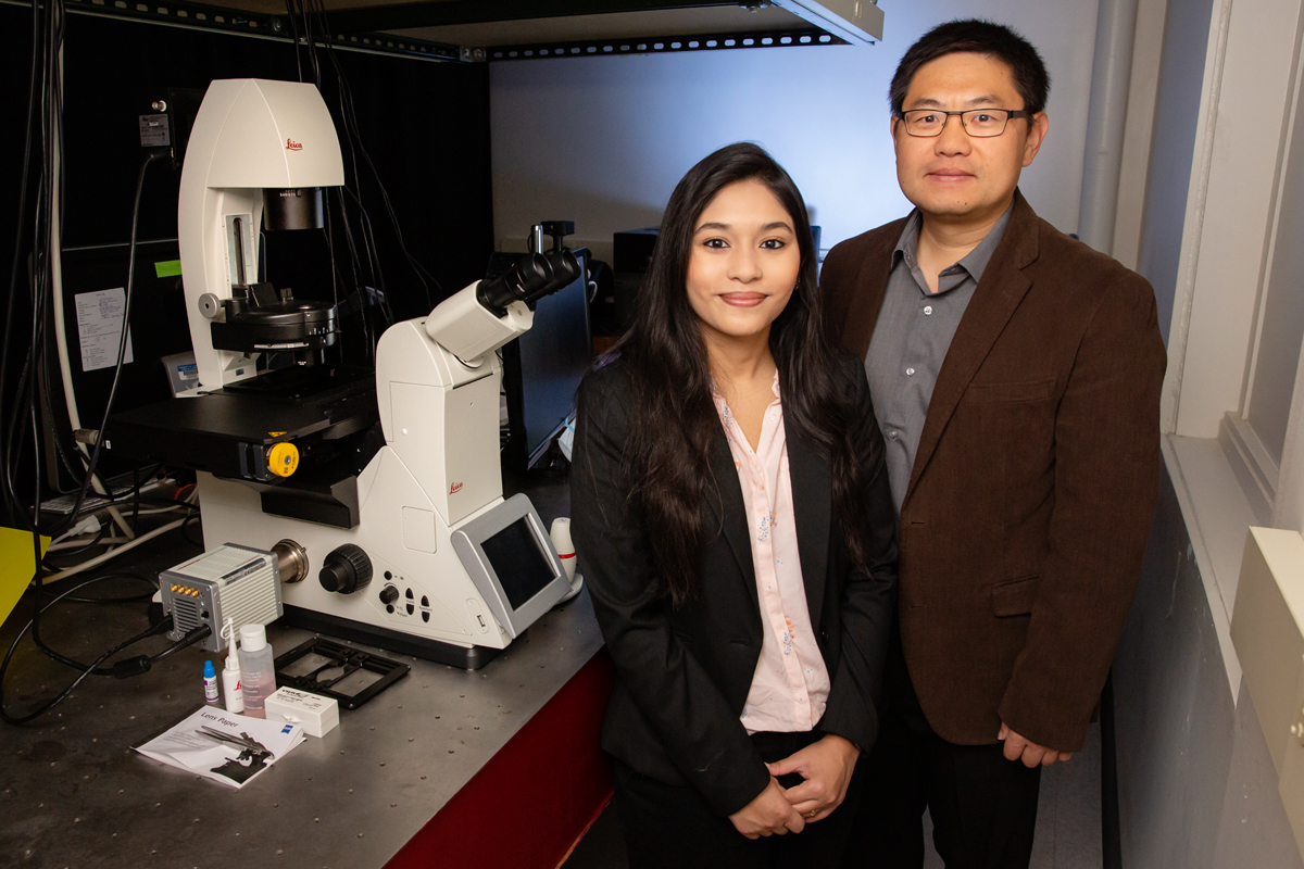 Graduate student Payel Mondal, left, biochemistry professor Kai Zhang and their colleagues developed a new optogenetic technique that will help scientists study protein function.