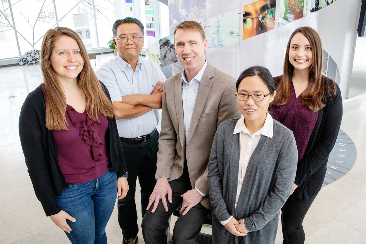 The team includes, from left, Emily Geddes, Gee Lau, Paul Hergenrother, Hyang Yeon Lee, and  Erica Parker.
