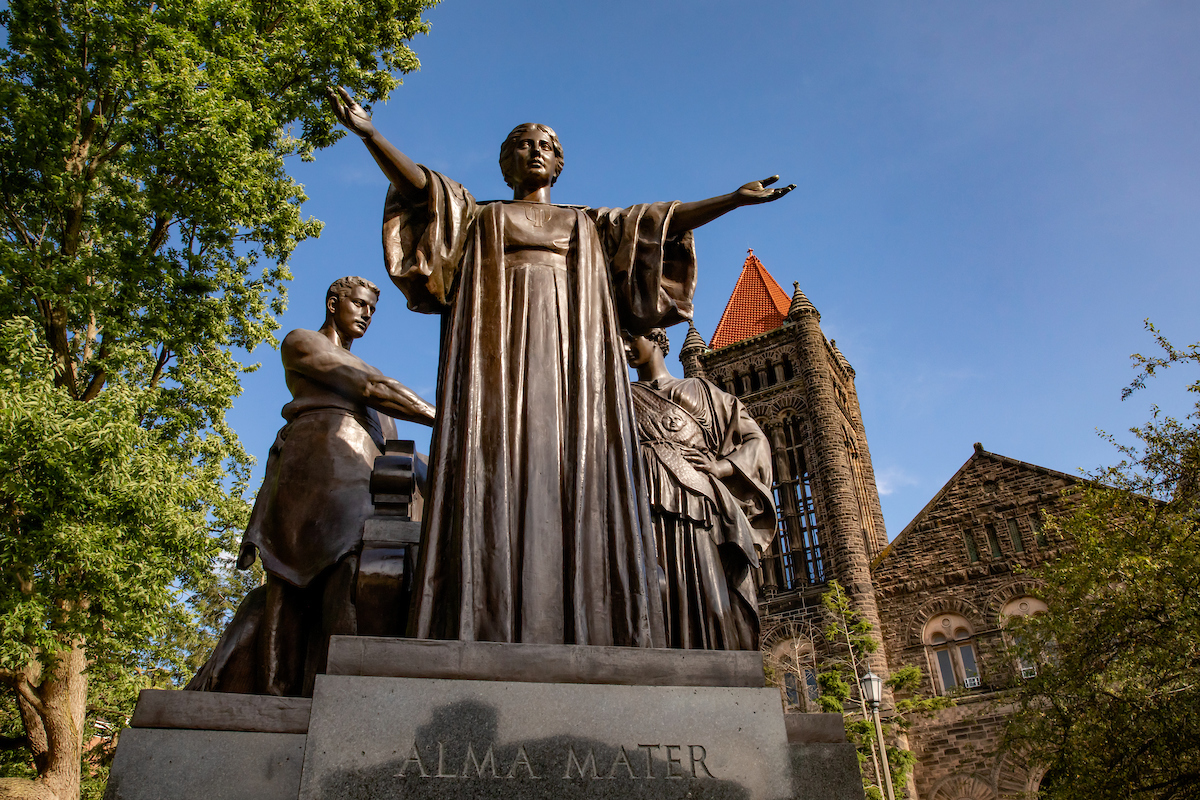 Photo of alma mater statue on the Univeristy of Illinois campus