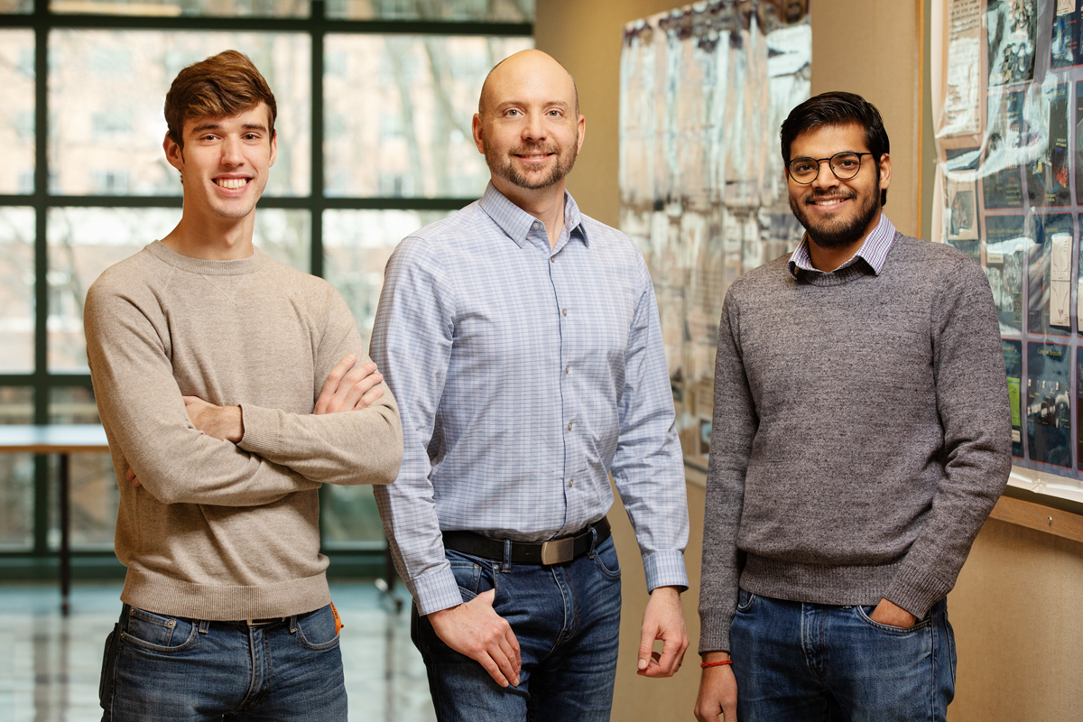 University of Illinois researchers have honed a technique called the Stokes trap, which can handle and test the physical limits of tiny, soft particles using only fluid flow. From left, undergraduate student Channing Richter, professor Charles Schroeder and graduate student Dinesh Kumar.