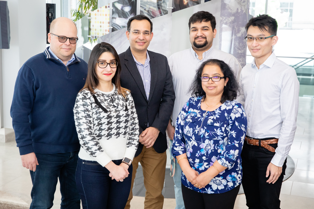 Researchers determined key molecular events that lead to heart abnormalities in myotonic dystrophy. The team included, from left, bioengineering professor Lawrence Dobrucki, postdoctoral fellow Jamila Hedhli, biochemistry professor Auinash Kalsotra, graduate student Sushant Bangru, research scientist Chaitali Misra and graduate student Kin Lam.
