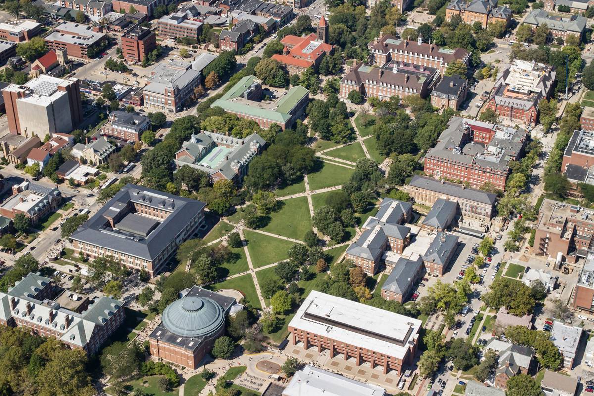 Aerial photo of Main Quad