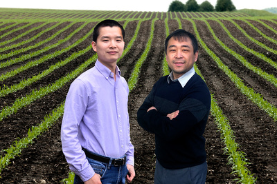 Researchers Bin Peng, left, and Kaiyu Guan led a large, multi-institutional study that calls for a better representation of plant genetics data in the models used to understand crop adaptation and food security during climate change.
