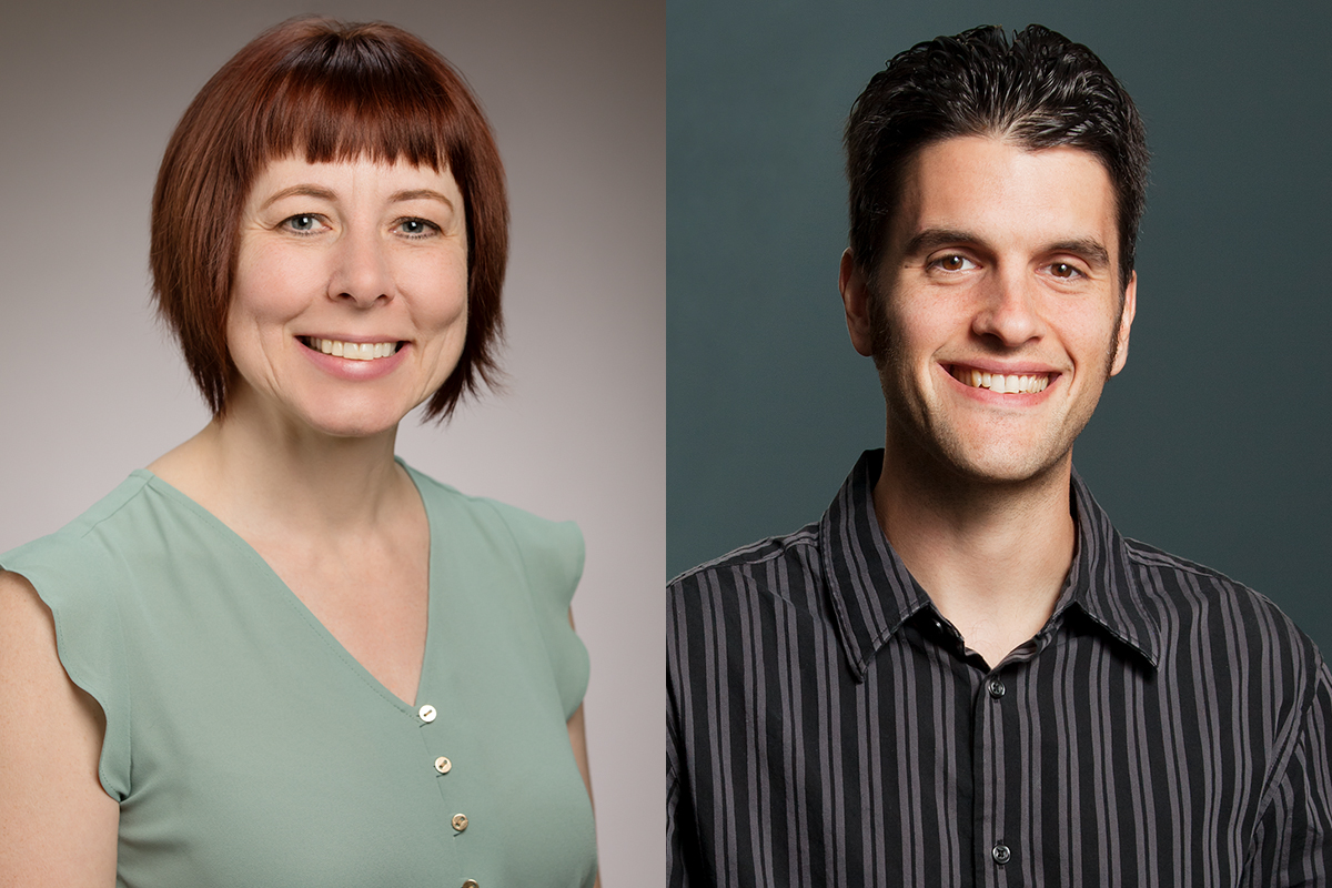 portraits of Jennifer Hardesty and Brian Ogolsky, both professors of human development and family studies at the U. of I.