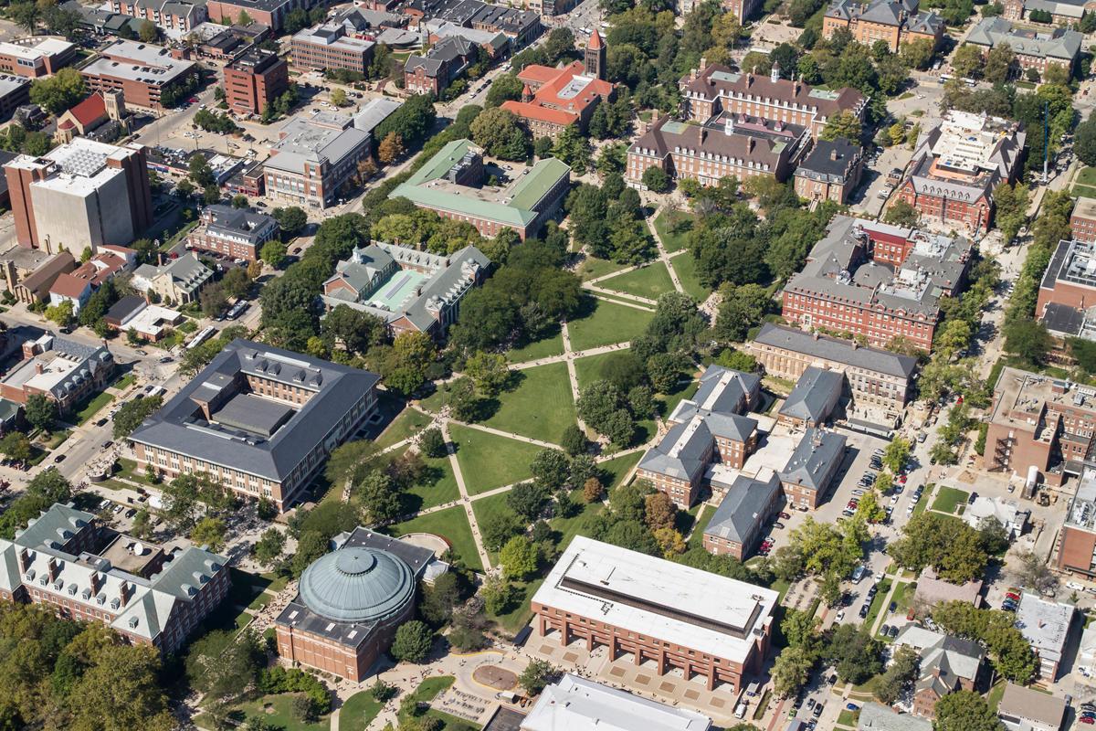 Aerial view of Main Quad