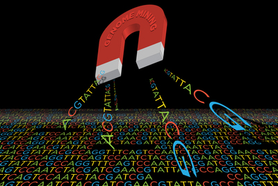 Cartoon of a giant red magnet drawing up genetic sequences from a pool of genetic sequences. Background is black.