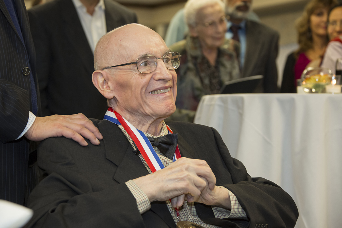 Nick Holonyak Jr. smiles at a reception for the 2015 Draper Prize.