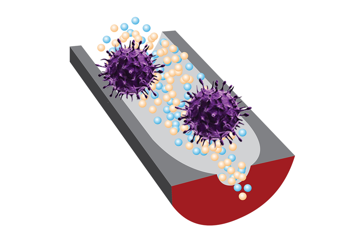 An artist's rendering of viruses passing through a nanopore sensor