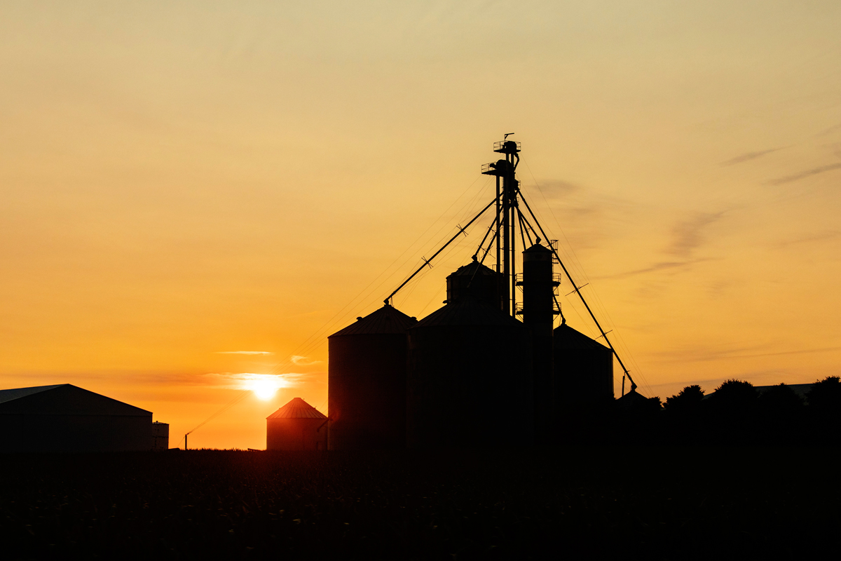 Silhouette of farm silos at sunset